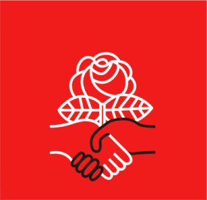 black hand grasping white hand below a rose