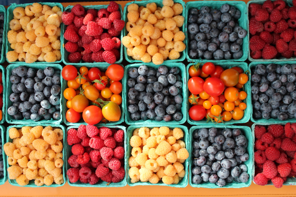 Summer produce at the farmers blind