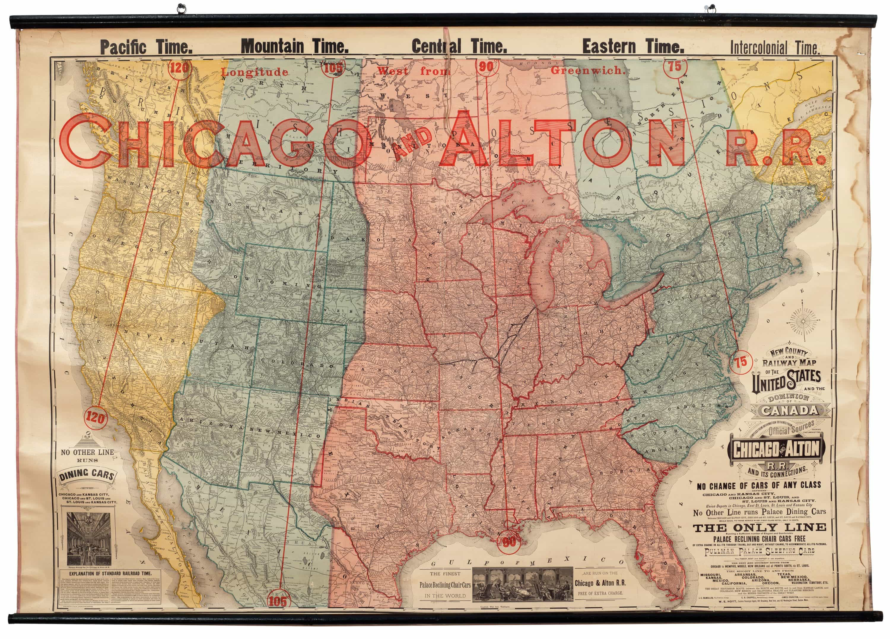 Have you ever wanted to know the time and date in chicago so you can phone home while vacationing in the uk? Striking Railroad Map Featuring New American Time Zones Rare Antique Maps