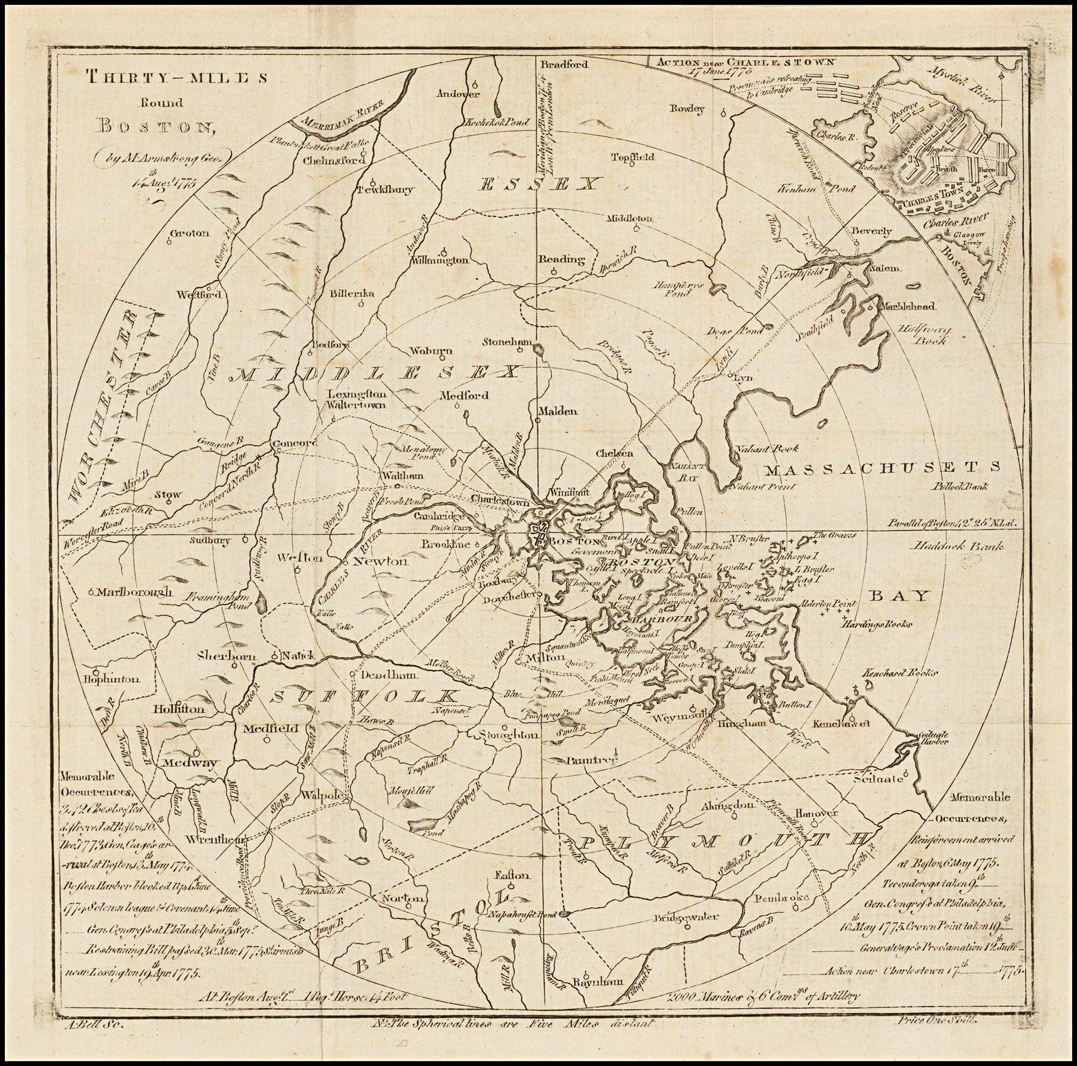 Scarce And Unusual Plan Of Revolutionary War Boston