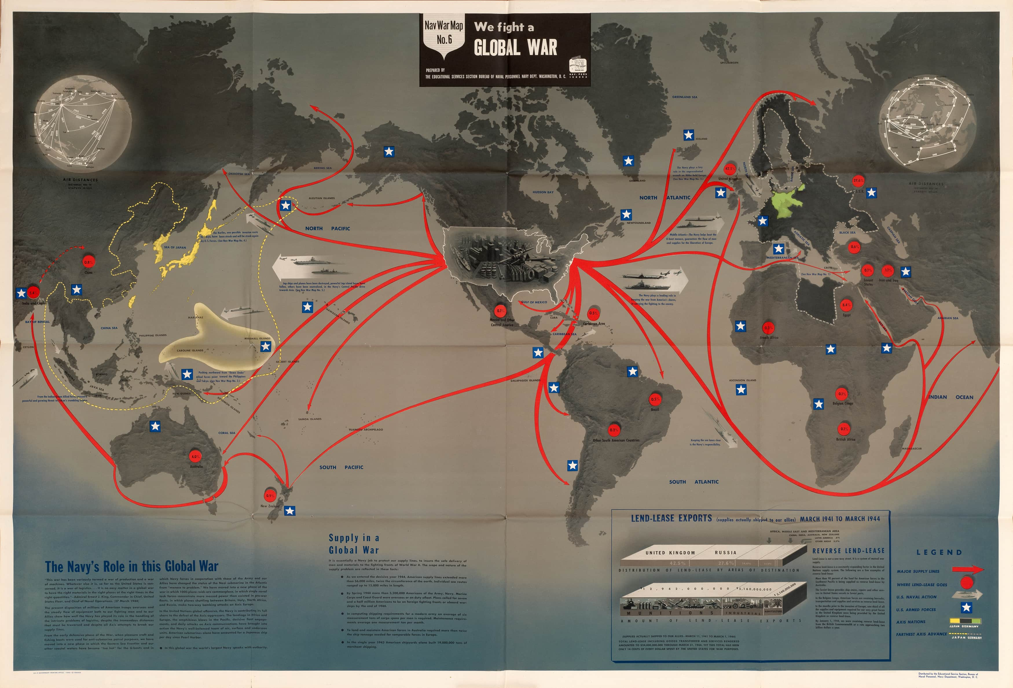 Striking World War Two Nav War Map Issued By The U S
