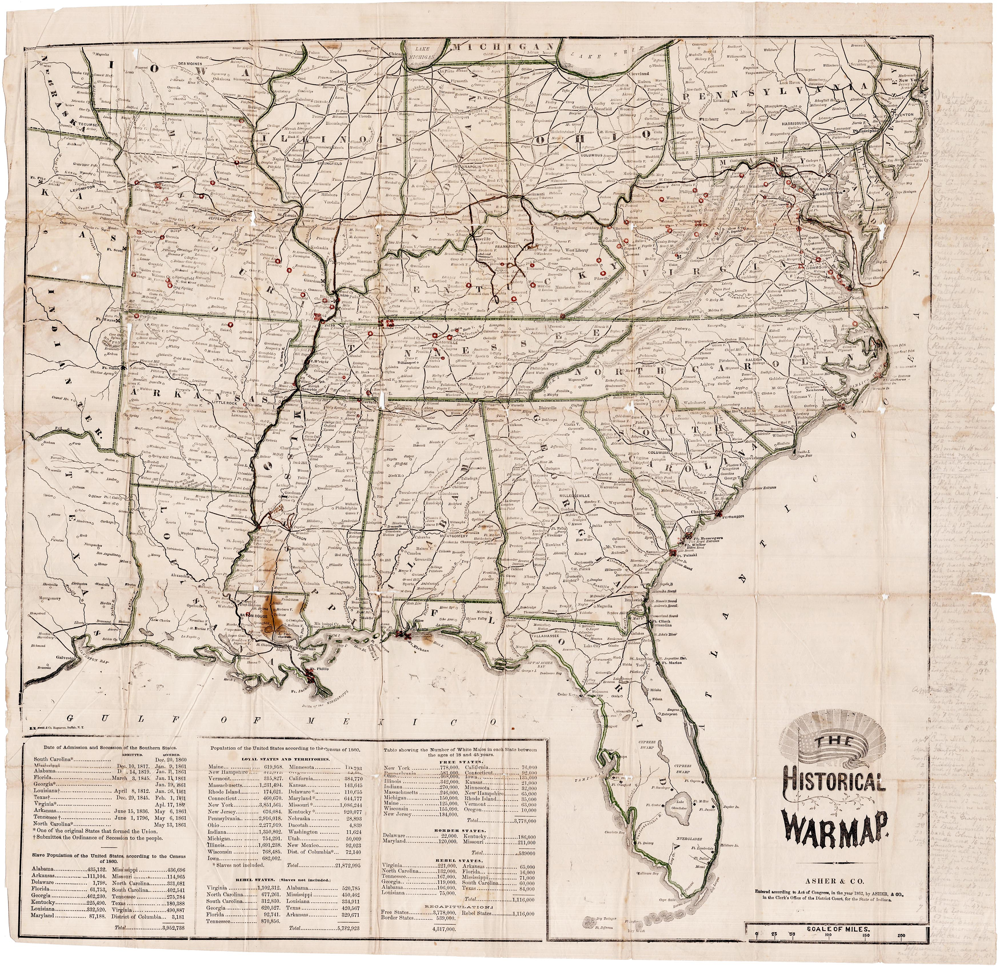 Civil War Era Historical War Map Massively Annotated By A