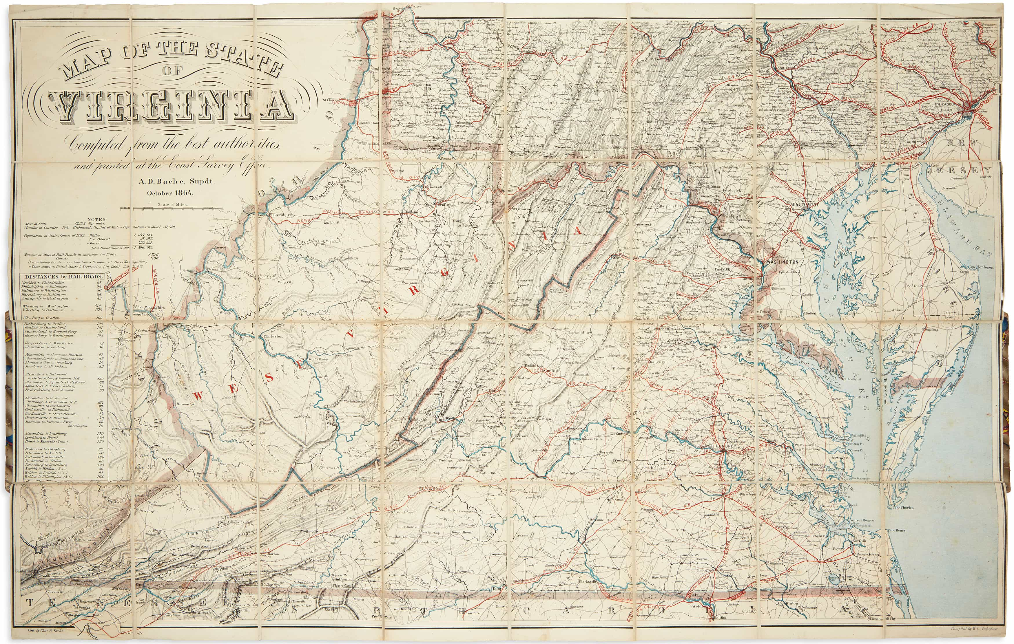 Exceptional Civil War Map Of Virginia And West Virginia