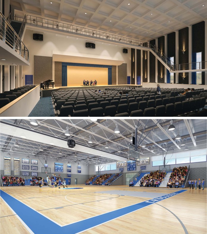 Rendering of planned fine arts center and gymnasium at Whitinsville Christian School (images courtesy of Dixon Salon Architects).