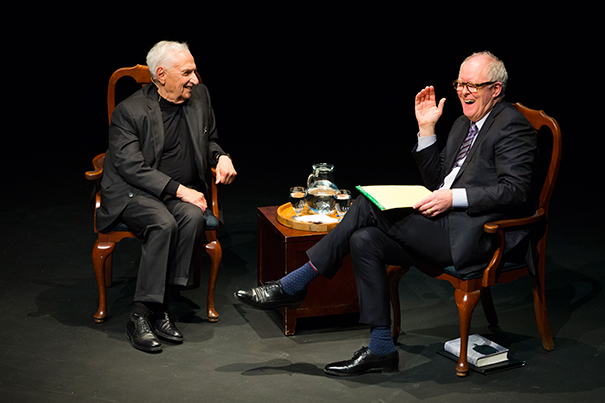 Photos by Stephanie Mitchell/Harvard Staff Photographer Harvard Arts Medal recipient Frank Gehry (left) shared a heartfelt and humorous conversation with actor John Lithgow '67, Art.D. '05.