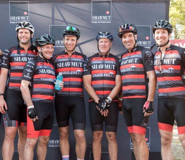 : Team Shawmut pictured (left to right) Patrick Walsh, Shawmut; Dr. Christopher Sweeney, Dana-Farber; Seth Porter, Shawmut; Jim Scarpone, Shawmut; Les Hiscoe, Shawmut; Chris Ryan; patient of Dr. Sweeney