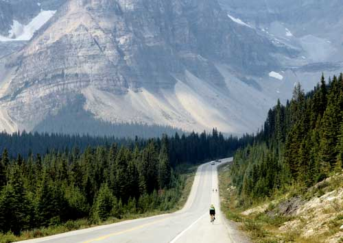 Dr. Zucker biking through the Canadian Rockies