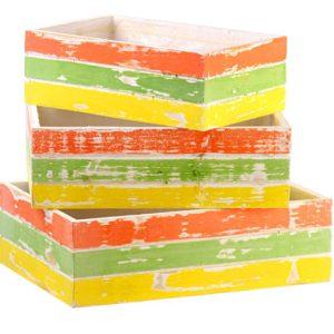 Conjunto com 3 caixotes coloridos