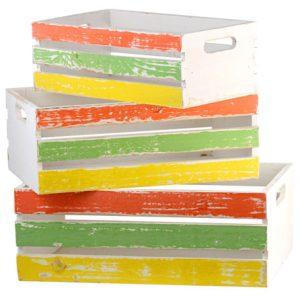 Conjunto com 3 caixotes vazados coloridos