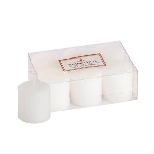 Conjunto de 6 velas pilares brancas 5x5cm