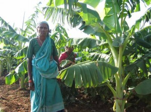 Woman standing by banana plant.