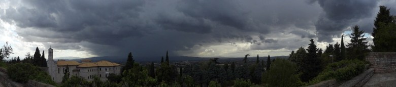 Thunderstoms, here approaching Assisi, kept us in the conference centre