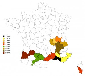 Progression du chancre coloré du platane dans le Sud de la France