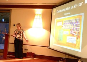 Prof Dolores Rodriguez talked about the history of communication in research. Photo by Anne Osterrieder