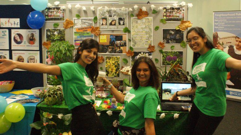 Shamma, Preena, and Diljot getting ready for the 2016 Freshers' Fair