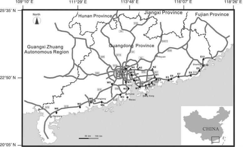 Sampling plots of Mikania micrantha in Guangdong Province, South China.