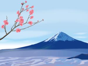 mtfujiblueplum,梅,富士山,春