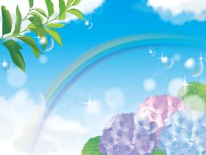 虹,あじさい