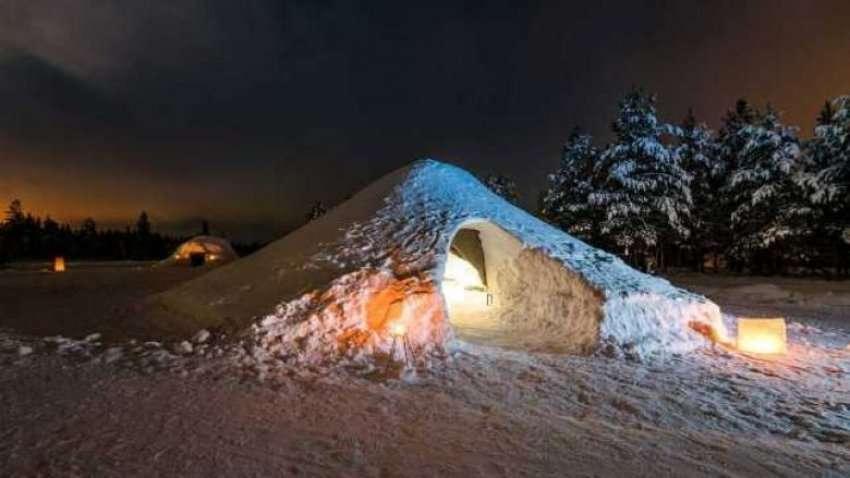 Rezultate imazhesh për Flini nën Drita e Veriut dhe nën yje në këtë shtëpi eskimeze në Finlandë