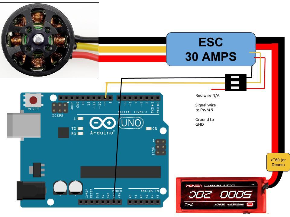 30 Amp Esc Wiring Diagram Connect Brushless Motors To Arduino Through Esc S