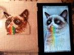 Grumpy Cat Tastes the Rainbow (it was aweful). perler beads