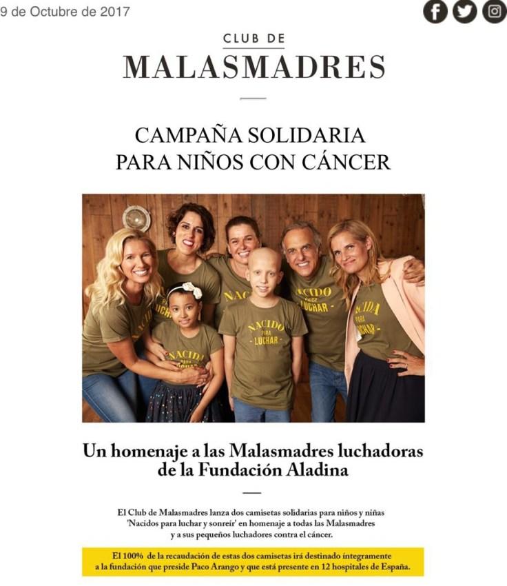 Campaña solidaria del Club Malas Madres a beneficio de la Fundación Aladina