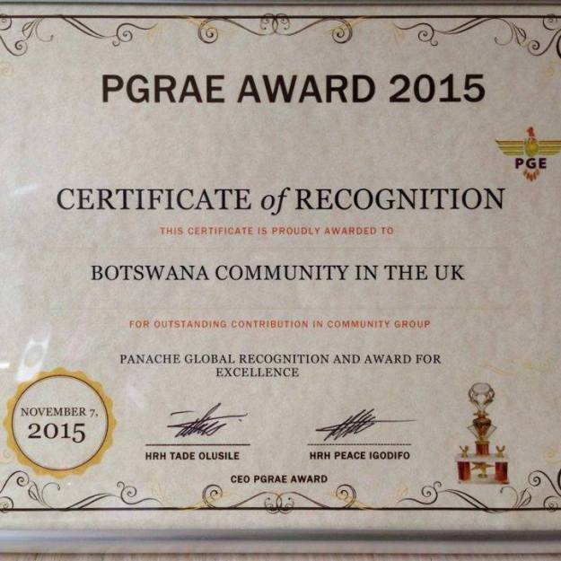 PGRAE Award 2015 for Botswana Community in the UK