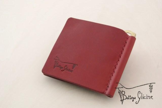 赤い財布 マネークリップ 小銭入れ付き