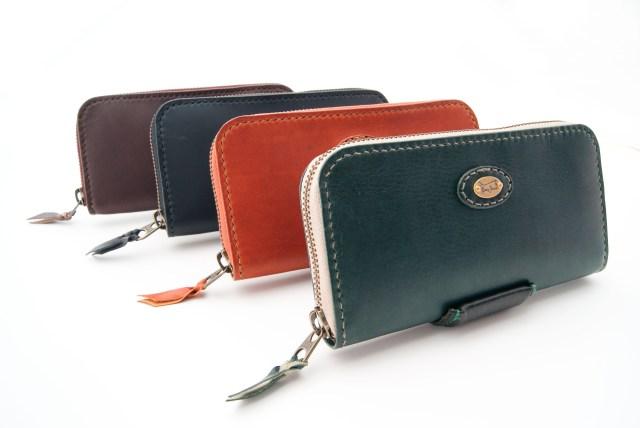 イタリアンレザーの長財布,ラウンドファスナー
