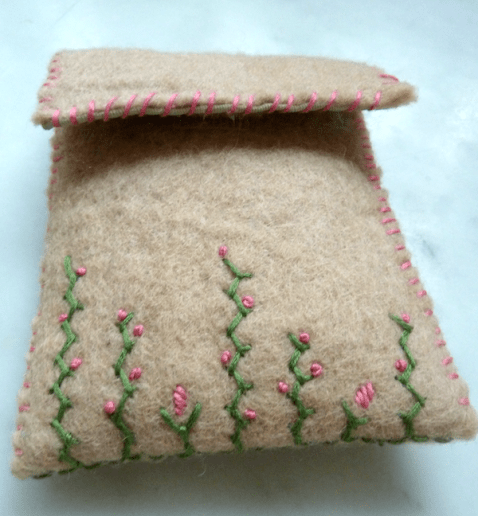 embroidered felt pouch front
