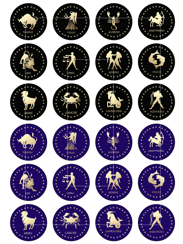 Zodiac Signs Circle Images Digital Collage Sheet Bottlecap4u