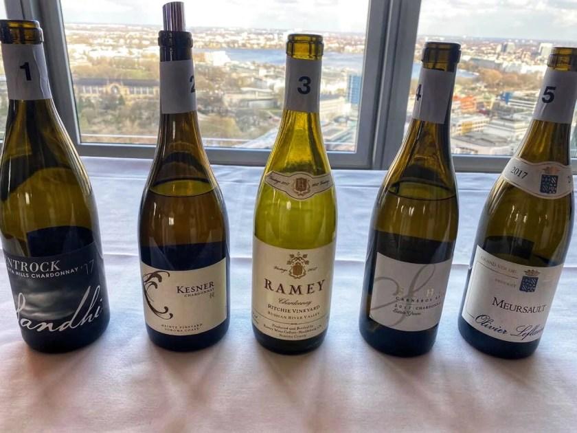 Fünf unterschiedliche Chardonnays