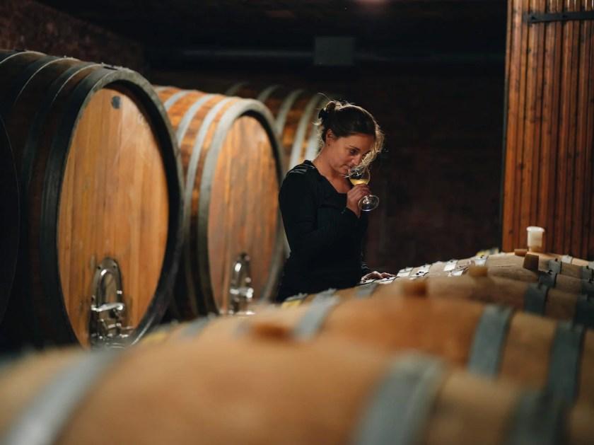 Winzerin Christina Netzl im Weinkeller des Weinguts