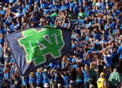 The ND student section celebrates after another Irish score.