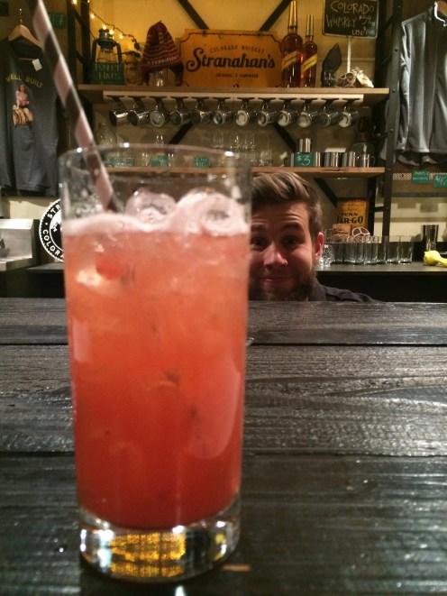 Strawberry Rhubarb Splash, with a side of photobomb!