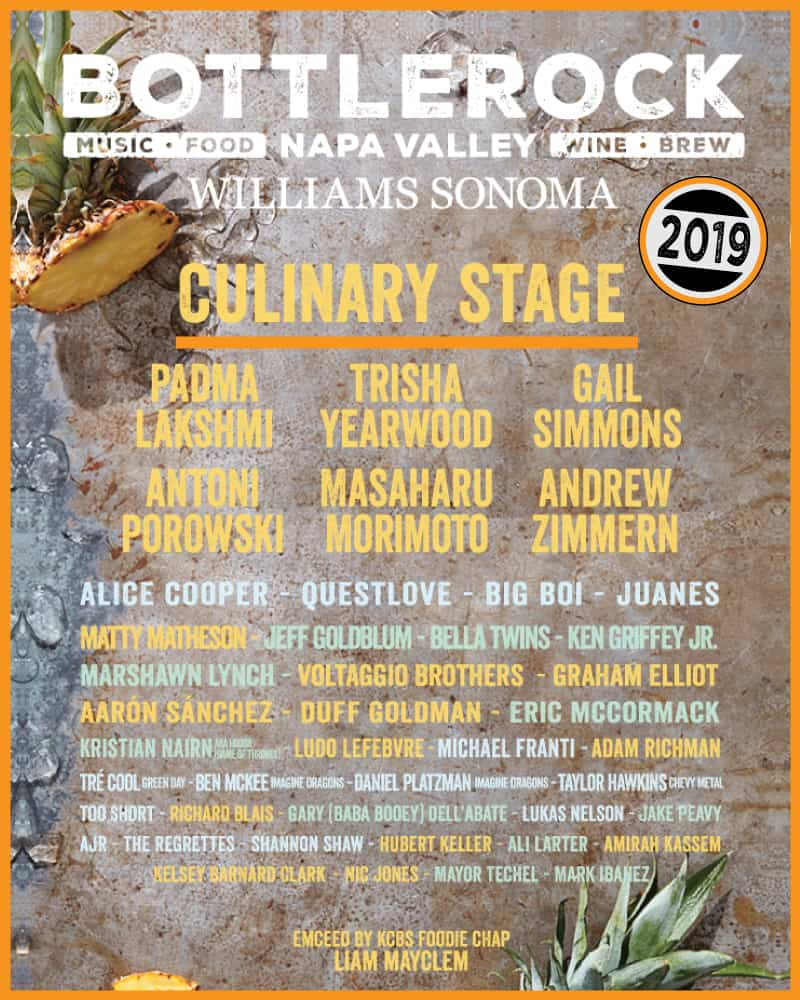 See Jerry Rice, Alice Cooper, Padma Lakshmi, Marshawn Lynch and more on the Bottlerock Culinary Stage presented by Williams Sonoma.