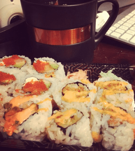"""Spicy mayo. Caviar. Salmon/""""Sake"""". Tuna. How did I live without these things for 9 months?!"""