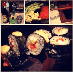 Homemade sushi with smoked salmon? The United Kingdom says yes! Totally fine.