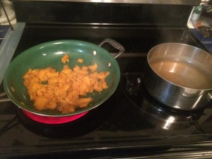 cooked squash and stock