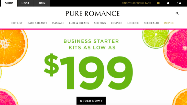 Pure Romance homepage showing giant advertisement for the Business Starter Kit ($199)