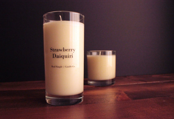 Strawberry Daiquiri Soy Candle from Michigan based Etsy shop, Real Simple Candle Co.