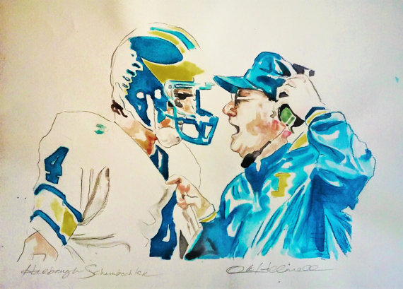 Jim Harbaugh Bo Schembechler Watercolor Ink Portrait | VitoArt