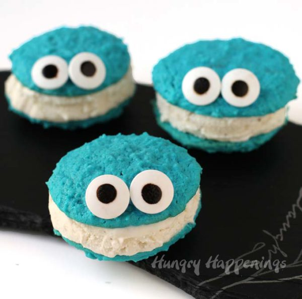 Cookie Monster Ice Cream Sandwiches from Hungry Happenings | 'Celebrate with 8' for Ice Cream Sandwich Day | Bottom Left of the Mitten