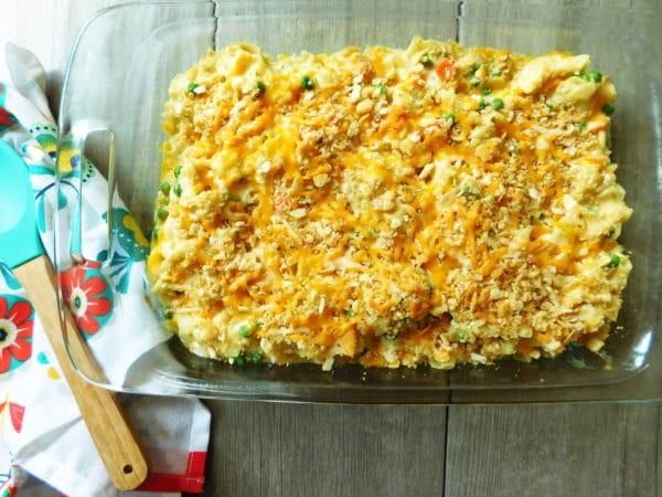 Tuna casserole in a dish ready to eat.