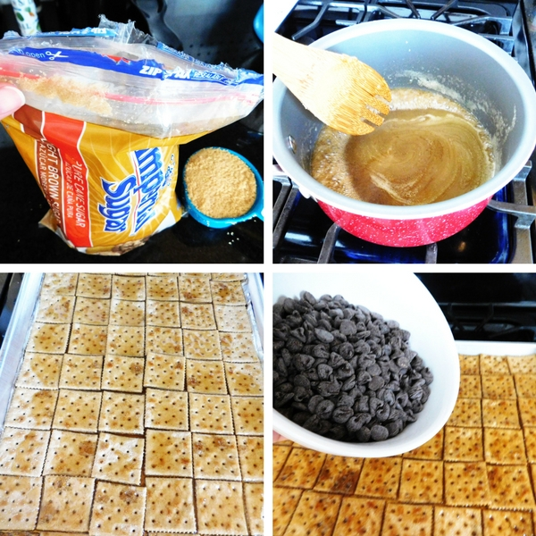 Steps and ingredients for making Cracker Candy.