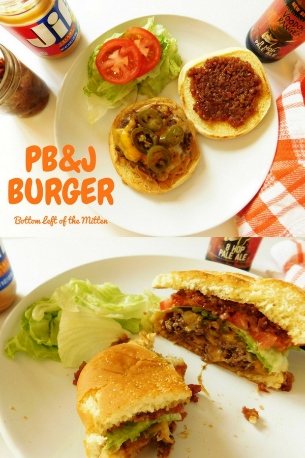 This is not the peanut butter and jelly you grew up with. It's not your average burger. PB & J=Peanut Butter and Bacon Jam make this burger an all-out hit!  #burger #peanutbutterburger #burgerrecipes #baconjam #alloutburger #cookoutfood #beefrecipes