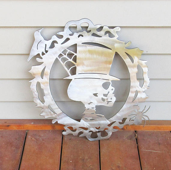 Gothic Steampunk Plasma Cut Metal Art Skeleton from CatFlyDesigns | Halloween Gift Guide | Bottom Left of the Mitten