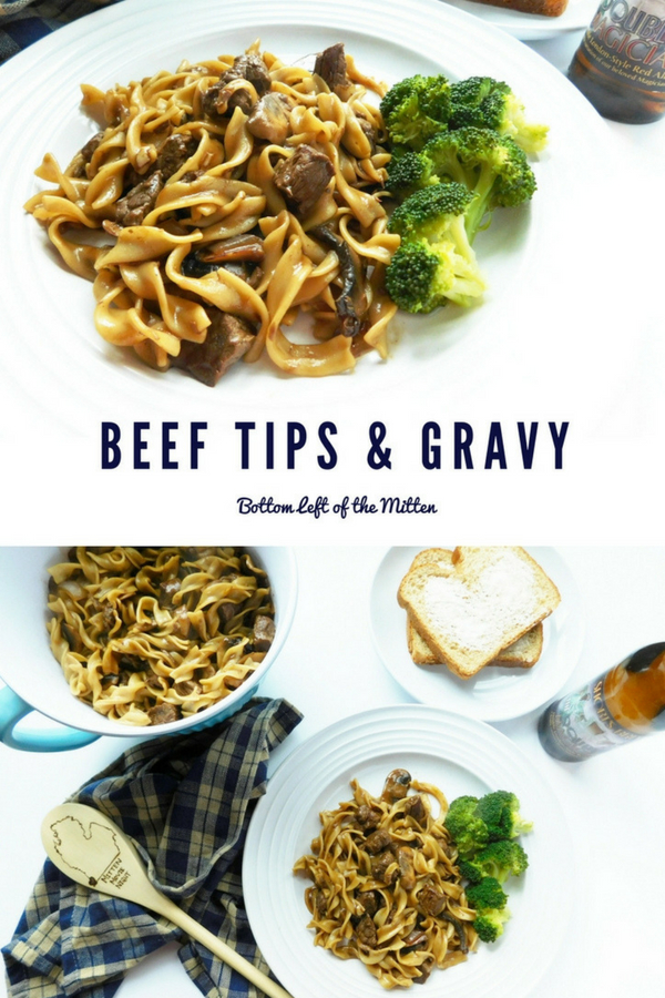 These beef tips and gravy cook low and slow so they come out tender. Serve over noodles for a stick to the ribs dinner, perfect for the colder weather.  #beef #noodles #comfortfood #dinner #beeftips #gravy #wintermeals