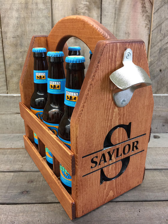 wood beer carrier from Wallis Family Customs | Craft Beer Lovers Gift Guide | Bottom Left of the Mitten