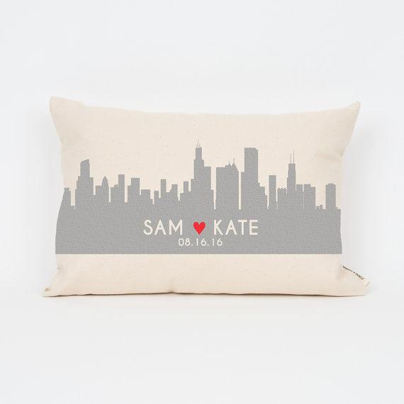 Custom City Skyline Pillow from FinchandCotter | Valentine's Day Gift Guide | Bottom Left of the Mitten